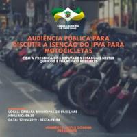 Audiência pública para discutir a isenção do IPVA para motocicletas